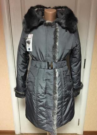 Теплое женское пальто серого цвета , код 89
