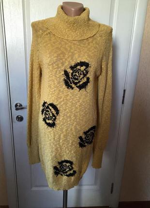 Свитер-платье  туника желтого цвета с черными розами  код С-1764