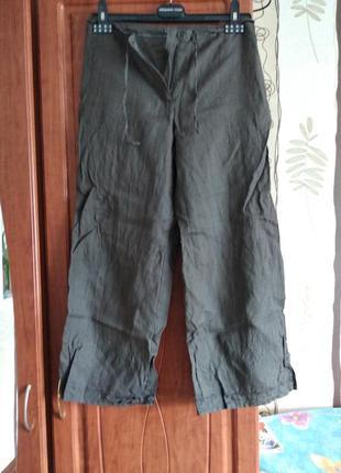 Укорочені льяні штани з вишивкою