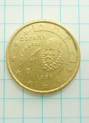 Монета Испания 10 EuroCent евроцентов 1999 Сервантес Латунь