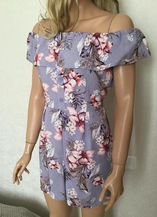 Ромпер лиловый в цветы вискозный new look размер 12