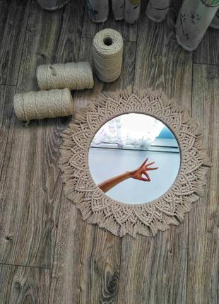 Декоративное зеркало ручной работы в стиле бохо.