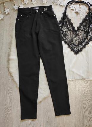Черные штаны брюки джинсы тонкие стрейч высокая талия посадка ...