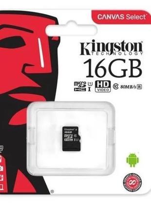 Карта памяти Kingston micro SD HC 16GB Class 10