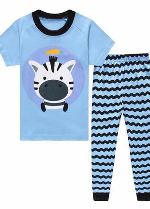 Пижама для мальчика, голубая. зебра.