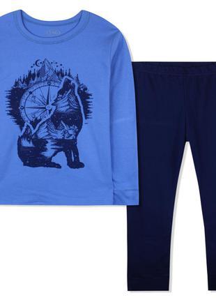 Пижама для мальчика, синяя. волк.