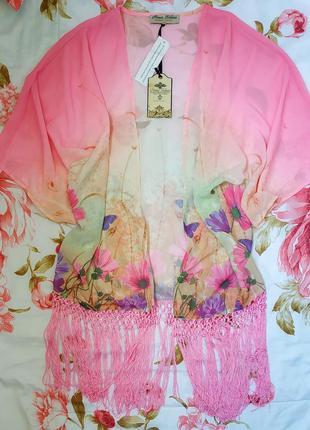 ☀️👙🌴милейшая пляжная накидка кимоно  с бахромой* накидка в цве...