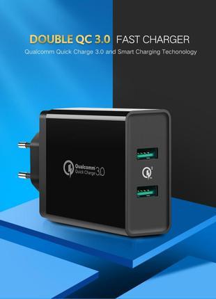 Ugreen Double USB Quick Charge 3.0 36W быстрая зарядка двойная