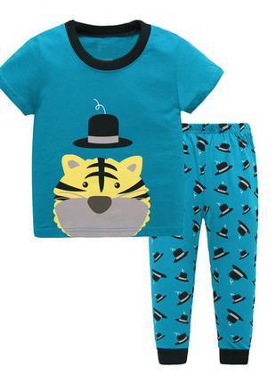 Пижама для мальчика, бирюза. тигр