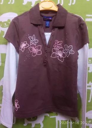Лонгслив для девочки, новый, школа,10лет, кофточка, футболка, ...
