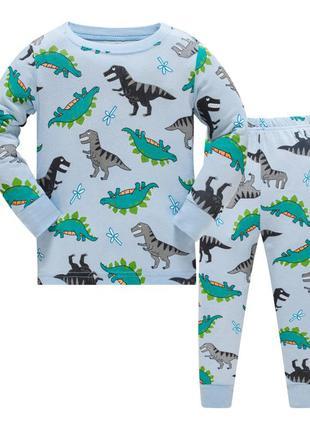 Пижама для мальчика, голубая. маленькие дино.