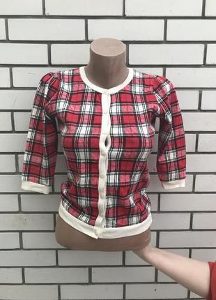 Красивая рубашка,блуза,кофточка,кардиган в клетку с трикотажно...