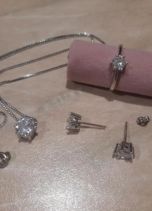 Набор серебро 925 проба, цепочка, пусеты, кольцо