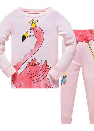 Пижама для девочки, розовая. фламинго.