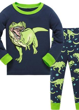 Пижама для мальчика, синяя. динозавр.