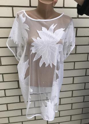 Блуза,туника(футболка) прозрачная,сетка,пляжная ,кружевная,ука...