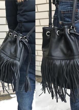 Черная сумка,торба,мешок с бахромой,на одно плечокож.зам,в этн...