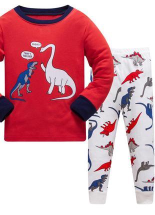 Пижама для мальчика, красная. динозаврик.