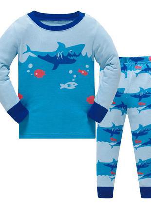 Пижама для мальчика, голубая. акула.