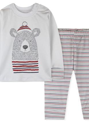 Пижама детская, для мальчика, белая. bear