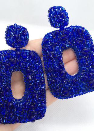 Синие серьги гвоздики с камнями