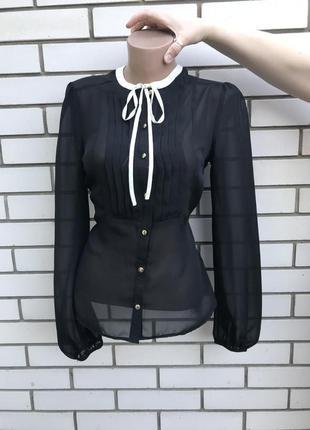Новая,прозрачная,чёрная блузка с белым бантом по груди,офисная...