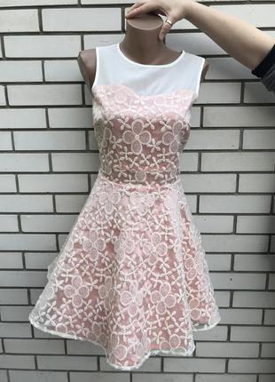 Платье кружевное,ажурное с розовым подюбником,вечернее,выпускн...