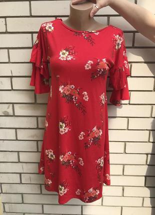 Красивое,красное платье,туника в цветочный принт,воланы,рюши н...