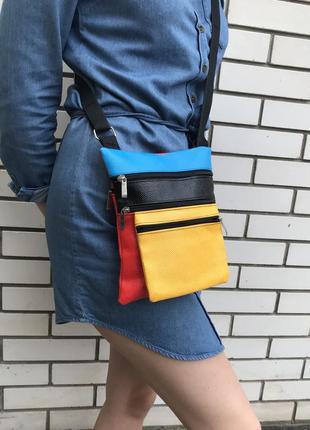 Яркая,красивая сумка,кроссбриди на одно плечо, кож.зам