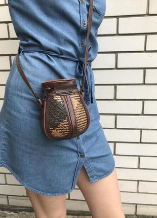 Кожаная,винтажная,комбинированная этно сумка-бочонок,кожа+соломка