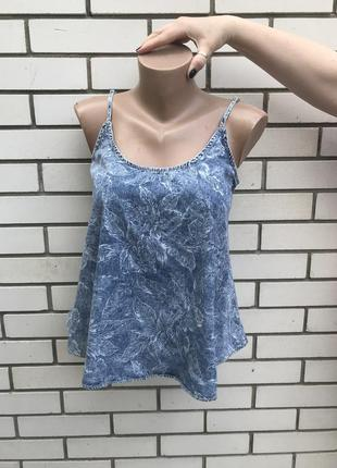 Новая джинсовая майка,футболка в цветочный принт,удлиненная по...