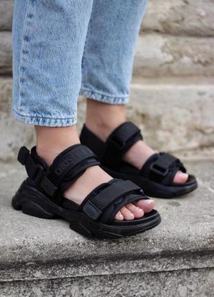 Женские летние хайповые босоножки ◈ сандалии черного цвета 😍