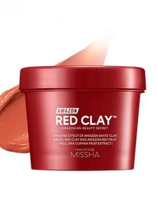 Очищающая маска из красной глины missha amazon red clay pore m...