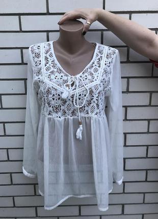Прозрачная блузка,рубаха с баской,вышивка,кружево,этно стиль