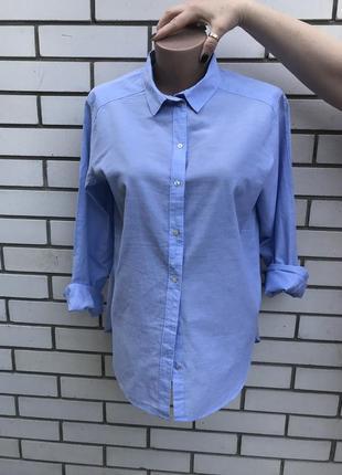 Легкая,голубая рубашка , блуза удлиненная по спинке, хлопок 10...