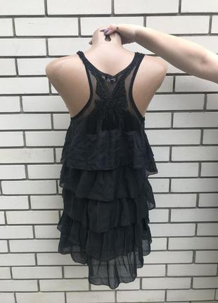 Многослойное шелковое платье,туника с вышивкой по спинке, avan...