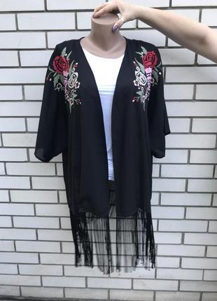 Чёрная накидка-кимоно с вышивкой,кардиган пляжный, бахрома,этн...