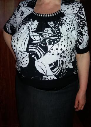 Продам женскую летнюю блузу размер 56 (масло, шифон) б.у.