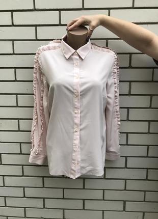 Розово-пудровая рубашка, блуза с рюшами, воланами по рукавах tu