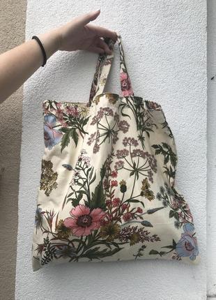 Хлопковая сумка, торба(мешок) в цветочный принт, этно стиль