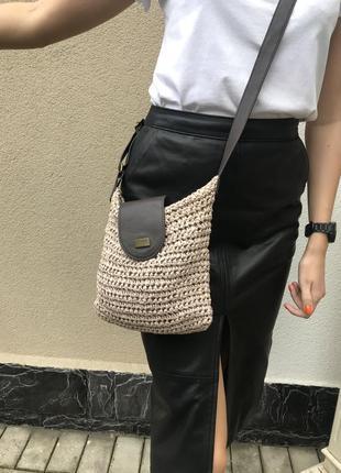 Соломенная,плетёная сумочка,торба с кож.зам деталями,на одно п...
