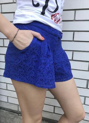 Красивые,синие,кружевные,гипюровые шорты с карманами по боку