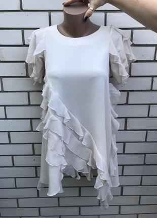 Шикарная,пудровая блуза,кофточка,туника ассиметр.воланами,рюша...