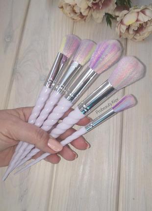 5 шт кисти для макияжа единорог набор white/rainbow probeauty