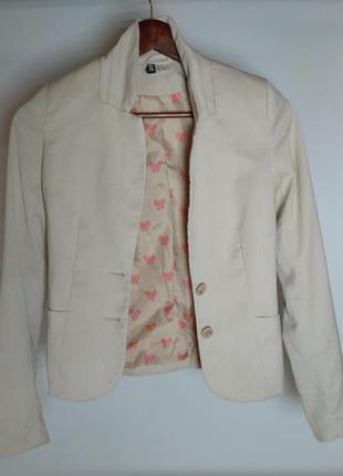 Пиджак бежевый жакет h&m divided светлый пиджак песочный беж