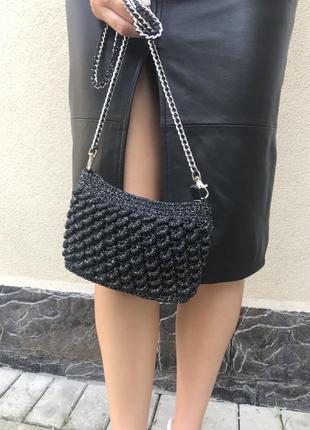 Чёрная с серебристым люрексом сумка,вязанная,плетёная,кроссбоди