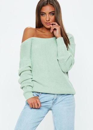 Ментоловый,объмный свитер,джемпер вязаный с открытой спиной, g...