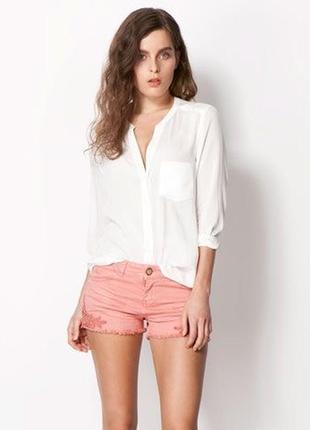 Белая,легкая,чуть прозрачная блузка,рубаха с кожаным карманом ...