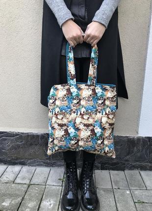 Этно,эко сумка,торба,мешок в принт котики,