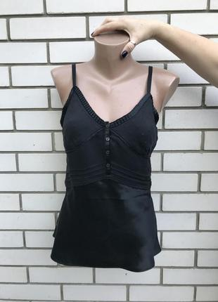 Новая,чёрная, шелковая ,вечерняя,бельевая майка,блуза,шёлк 100...